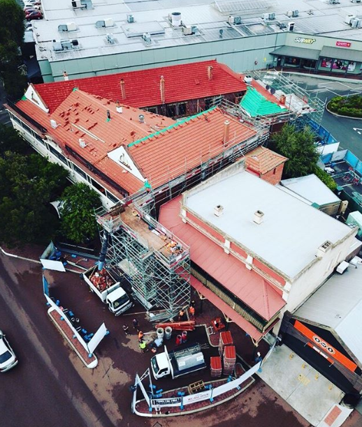 Kalamunda Hotel Roofing Project Ariel view